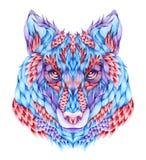 Επικεφαλής δερματοστιξία λύκων Watercolor Στοκ Φωτογραφίες