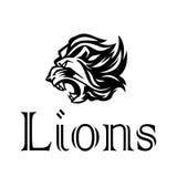 επικεφαλής λιοντάρι Logotype του διανυσματικού προτύπου Δημιουργική απεικόνιση Στοκ Εικόνα