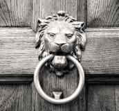 Επικεφαλής ρόπτρα λιονταριών σε μια παλαιά ξύλινη πόρτα Στοκ εικόνα με δικαίωμα ελεύθερης χρήσης