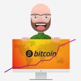 Επικεφαλής του καθηγητή Γραφική παράσταση Bitcoin και παγκόσμιος χάρτης στην οθόνη PC Διανυσματική απεικόνιση