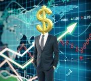 Επικεφαλής υπόβαθρο Forex σημαδιών δολαρίων Στοκ Εικόνα