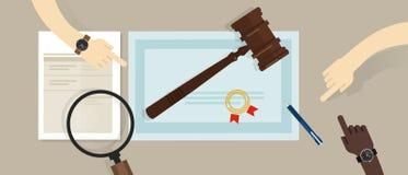Επικυρωμένο νομικό έγγραφο εκπαίδευσης δικηγόρων ελεγκτών gavel στο σύμβολο εγγράφου του νόμου επίσης corel σύρετε το διάνυσμα απ Στοκ εικόνες με δικαίωμα ελεύθερης χρήσης