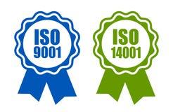 Επικυρωμένο πρότυπα του ISO 9001 και 14001 εικονίδιο διανυσματική απεικόνιση