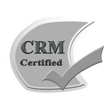 Επικυρωμένο CRM σχέδιο έννοιας εικόνας εικονιδίων ή συμβόλων για την επιχείρηση στοκ εικόνα