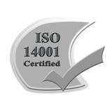Επικυρωμένο ISO14001 σχέδιο έννοιας εικόνας εικονιδίων ή συμβόλων για το busin στοκ εικόνες