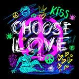 Επιλέξτε τα καθιερώνοντα τη μόδα χρώματα νέου κοριτσιών σημαδιών ειρήνης αγάπης, φιλί, καρδιές, χείλια, εγγραφή συνθήματος Μολύβι διανυσματική απεικόνιση
