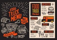 Επιλογές για το φεστιβάλ οδών φορτηγών τροφίμων Πρότυπο σχεδίου με το χέρι-δ Στοκ φωτογραφία με δικαίωμα ελεύθερης χρήσης