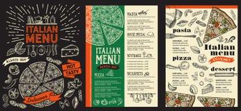 Επιλογές εστιατορίων πιτσών Διανυσματικό ιπτάμενο τροφίμων για το φραγμό και τον καφέ Desig Στοκ Φωτογραφίες