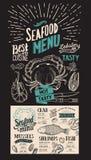 Επιλογές θαλασσινών για το εστιατόριο Διανυσματικό ιπτάμενο τροφίμων για το φραγμό και τον καφέ Στοκ Εικόνες
