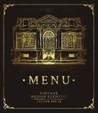 Επιλογές κάλυψης για ένα εστιατόριο με τη χρυσή τυπωμένη ύλη Στοκ Φωτογραφίες