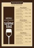 Επιλογές καταλόγων κρασιού με το ποτήρι του κρασιού και του τιμοκαταλόγου Στοκ φωτογραφία με δικαίωμα ελεύθερης χρήσης