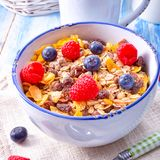 Επιλογές προγευμάτων Muesli με τα δασικά φρούτα Στοκ Εικόνες