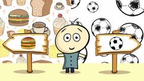Επιλογή με τα τρόφιμα και soccerballs απεικόνιση αποθεμάτων