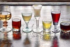 Επιλογή των οινοπνευματωδών ποτών Σύνολο κρασιού, κονιάκ, ηδύποτο, tincture, κονιάκ, ουίσκυ στα γυαλιά Μεγάλη ποικιλία του οινοπν στοκ εικόνα