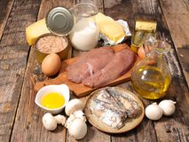 Επιλογή των τροφίμων υψηλή στη βιταμίνη στοκ εικόνες