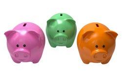 επιλογή piggy τρία τραπεζών Στοκ Φωτογραφία