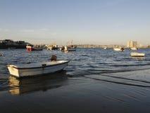 Επιπλέοντα αλιευτικά σκάφη που ελλιμενίζονται σε μια ακτή στοκ εικόνες