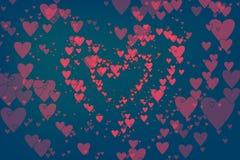 Επιπλέουσες καρδιές ως καθιερώνον τη μόδα υπόβαθρο για τις ευχετήριες κάρτες ημέρας βαλεντίνων, ιπτάμενο Επίπεδο σχέδιο των ρόδιν ελεύθερη απεικόνιση δικαιώματος