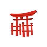 Επιπλέουσα πύλη Torii, εικονίδιο της Ιαπωνίας, επίπεδο ύφος Στοκ Φωτογραφία
