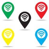 Επισημάνετε με το σήμα δικτύων FI WI μέσα Στοκ Εικόνες