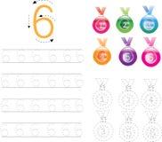 Επισημαίνοντας φύλλο εργασίας τέσσερα, 0-9 αριθμού Στοκ φωτογραφία με δικαίωμα ελεύθερης χρήσης
