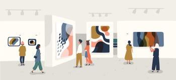 Επισκέπτες έκθεσης που βλέπουν τα σύγχρονα αφηρημένα έργα ζωγραφικής στη στοά σύγχρονης τέχνης Άνθρωποι σχετικά με τα δημιουργικά απεικόνιση αποθεμάτων
