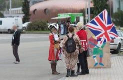 Επισκέπτες που μιλούν σε Animefest, anime σύμβαση Στοκ εικόνα με δικαίωμα ελεύθερης χρήσης
