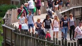 Επισκέπτες που περπατούν στο δρόμο και που περνούν από στο ζωολογικό κήπο apenheul του Άπελντορν, στις 6 Αυγούστου 2019, οι Κάτω  φιλμ μικρού μήκους