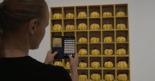 Επισκέπτης στοών που παίρνει τον κινητό πυροβολισμό των κολοκυθών Yayoi Kusama φιλμ μικρού μήκους