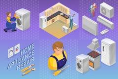 Επισκευή εγχώριων συσκευών Isometric έννοια Εργαζόμενος, εξοπλισμός ελεύθερη απεικόνιση δικαιώματος
