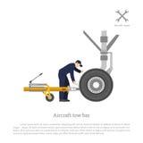 Επισκευή και συντήρηση του αεροπλάνου Μηχανικές κλειδαριές ο φραγμός ρυμούλκησης Στοκ Φωτογραφία
