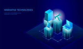 Επισκευή υπηρεσιών υπολογιστών isometric τρισδιάστατη μπλε επίπεδη τεχνικής υποστήριξης επιχειρησιακή τεχνολογία εμβλημάτων κατσα διανυσματική απεικόνιση