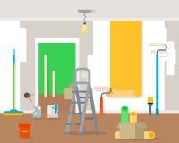 Επισκευή δωματίων στο σπίτι απεικόνιση αποθεμάτων