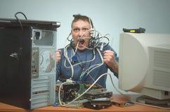 Επισκευαστής υπολογιστών Μηχανικός τεχνικών υπολογιστών τρισδιάστατη υποστήριξη υπηρεσιών απεικόνισης Στοκ φωτογραφία με δικαίωμα ελεύθερης χρήσης