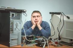 Επισκευαστής υπολογιστών Μηχανικός τεχνικών υπολογιστών τρισδιάστατη υποστήριξη υπηρεσιών απεικόνισης Στοκ Φωτογραφία