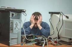 Επισκευαστής υπολογιστών Μηχανικός τεχνικών υπολογιστών τρισδιάστατη υποστήριξη υπηρεσιών απεικόνισης Στοκ Εικόνες