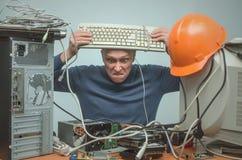 Επισκευαστής υπολογιστών Μηχανικός τεχνικών υπολογιστών τρισδιάστατη υποστήριξη υπηρεσιών απεικόνισης στοκ φωτογραφίες με δικαίωμα ελεύθερης χρήσης