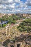 Επισκόπηση από ένα υψηλό σημείο, πέρα από το μέρος της αρχαίας Ρώμης, τα δέντρα πεύκων στην απόσταση το Colosseum και τα σχετικά  Στοκ φωτογραφίες με δικαίωμα ελεύθερης χρήσης