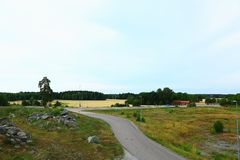 Επισκόπηση από τη στέγη πέρα από το τοπίο φύσης Στοκ φωτογραφία με δικαίωμα ελεύθερης χρήσης