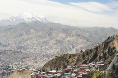 Επισκόπηση Λα Paz/El Alto με τα συμπαθητικά φω'τα στοκ εικόνα
