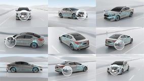 Επισκόπηση δομών αυτοκινήτων πόλεων κατά τη διάρκεια της οδήγησης τρισδιάστατο σύνολο απεικόνισης Στοκ Εικόνες