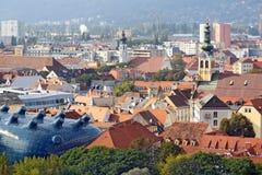 Επισκόπηση πόλεων από το λόφο Schlossberg στην πόλη του Γκραζ, Αυστρία Στοκ Εικόνα