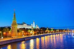 Επισκόπηση της στο κέντρο της πόλης Μόσχας στη νύχτα Στοκ Εικόνα