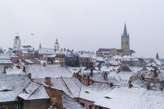 Επισκόπηση του Sibiu, άποψη άνωθεν, Τρανσυλβανία, Ρουμανία, 2015 Στοκ φωτογραφίες με δικαίωμα ελεύθερης χρήσης