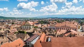 Επισκόπηση του Sibiu, άποψη άνωθεν, Τρανσυλβανία, Ρουμανία, 2017 Στοκ εικόνες με δικαίωμα ελεύθερης χρήσης