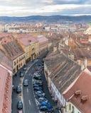 Επισκόπηση του Sibiu, άποψη άνωθεν, Τρανσυλβανία, Ρουμανία Στοκ Εικόνες