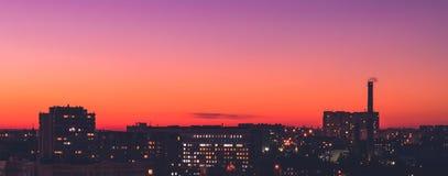Επισκόπηση Chisinau, άποψη άνωθεν στο ηλιοβασίλεμα, Δημοκρατία της Μολδαβίας Στοκ Εικόνα