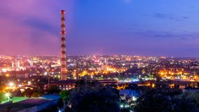 Επισκόπηση Chisinau, άποψη άνωθεν στο ηλιοβασίλεμα, Δημοκρατία της Μολδαβίας Στοκ φωτογραφίες με δικαίωμα ελεύθερης χρήσης