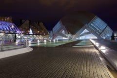 επιστήμες Βαλέντσια νύχτας πόλεων τεχνών Στοκ εικόνα με δικαίωμα ελεύθερης χρήσης