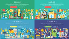 Επιστήμη, εκπαίδευση, on-line εκμάθηση, έξυπνες ιδέες και εμβλήματα σχεδίου ερευνητικής horisontal επίπεδα έννοιας οριζόντια καθο απεικόνιση αποθεμάτων